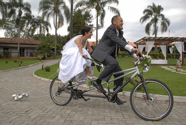 sesja ślubna na rowerze